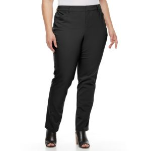 Plus Size Gloria Vanderbilt Haven Microtech Straight-Leg Dress Pants